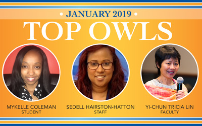 photos of the three Top Owl Award winners for January 2019